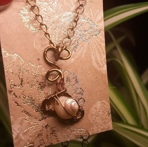 Nickel Free Copper wire wrapped shell Necklace